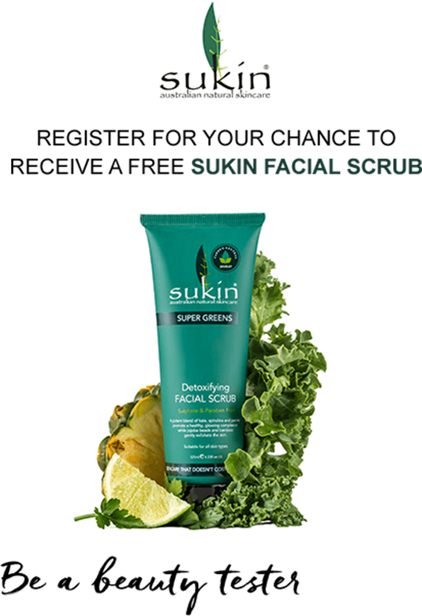 Register for your chance to receive a FREE Sukin Facial Scrub